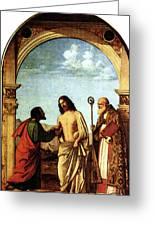 Cima Da Conegliano The Incredulity Of St Thomas With St Magno Vescovo Greeting Card