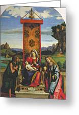 Cima Da Conegliano The Madonna And Child With St John The Baptist And Mary Magdalen Greeting Card