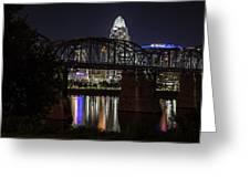 Cincinnati Bridge At Night  Greeting Card