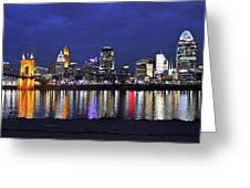 Cincinnati Night Lights Greeting Card