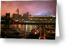 Red Sunset Sky In Cincinnati Ohio Greeting Card