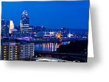 Cincinnati Skyline At Night Greeting Card