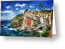 Cinque Terre - Riomaggiore From Above- Vintage Version Greeting Card