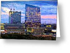 Cira Centre Skyline At Dusk Greeting Card