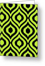 Circle And Oval Ikat In Black T03-p0100 Greeting Card