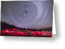 Circumpolar Star Trails Above The Table Greeting Card