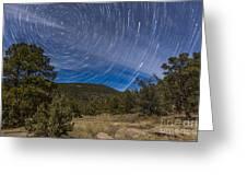 Circumpolar Star Trails Over The Gila Greeting Card