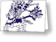 Circus Acrobats On Horse With Clown Greeting Card by Barry Nelles Art