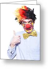 Circus Clown With Thumb Up To Carnival Advertising Greeting Card by Jorgo Photography - Wall Art Gallery