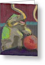 Circus Elephant With Ball Greeting Card