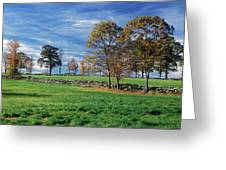 Cirrus Clouds Over Farm Fields Greeting Card
