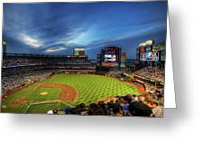 Citi Field Twilight Greeting Card by Shawn Everhart