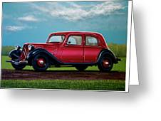 Citroen Traction Avant 1934 Painting Greeting Card
