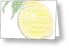 Citrus Fruit Illustrated With Cities Of Florida State Greeting Card