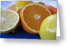 Citrus On Blue Plate Greeting Card
