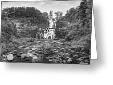 Cittenango Falls Tilt Shift Panorama Bw Greeting Card
