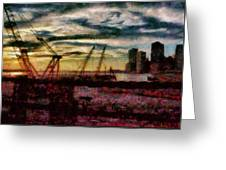 City - Ny - Overlooking The Hudson Greeting Card