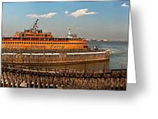 City - Ny - The Staten Island Ferry - Panorama Greeting Card