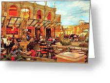 City - Vegas - Cesar's - Lunch In Italy Greeting Card