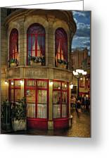 City - Vegas - Paris - Le Cafe Greeting Card by Mike Savad