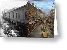 City - Baltimore Md - Traffic On Light Street - 1906 - Side By Side Greeting Card