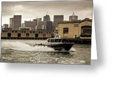 City Bay Police Boat - Color  Greeting Card
