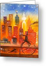 City Cycle In The Warm Evening Greeting Card
