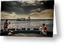 City Fishing Greeting Card