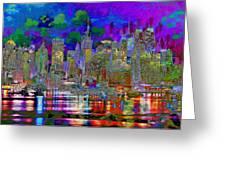City Garden Art Landscape Greeting Card