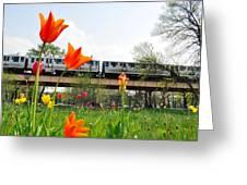 City Garden Chicago L Train Greeting Card