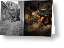 City - Germany - Alley - Coming Home Late 1904 - Side By Side Greeting Card