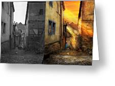 City - Germany - Alley - The Farmers Wife 1904 - Side By Side Greeting Card