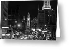City Hall - Black And White At Night Greeting Card