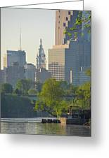 City Hall From The Schuylkill River Greeting Card
