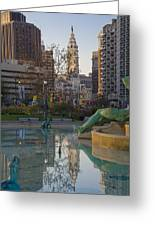 City Hall Reflecting In Swann Fountain Greeting Card