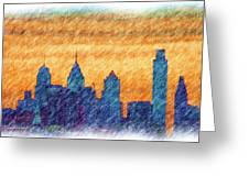 City In Pencil Greeting Card