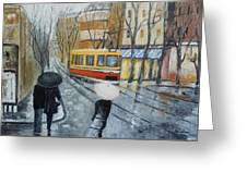 City In Rain Greeting Card