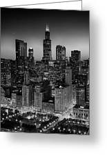 City Light Chicago B W Greeting Card