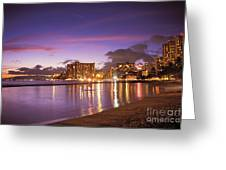 City Lights Reflections Greeting Card