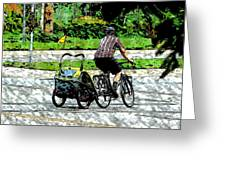 City Man On A Bike Greeting Card