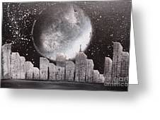 City Night Scape Greeting Card