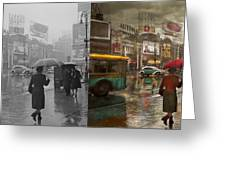 City - Ny - Times Square On A Rainy Day 1943 Side By Side Greeting Card