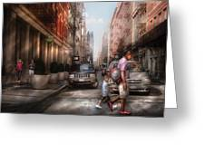 City - Ny - Walking Down Mercer Street Greeting Card