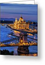 City Of Budapest At Twilight Greeting Card