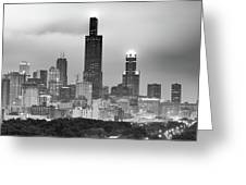 City Of Chicago Skyline Black And White Greeting Card by Gregory Ballos