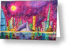 City Of Dubai Pop Art Original Luxe Life Painting By Madart Greeting Card