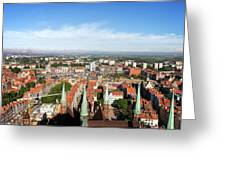 City Of Gdansk Aerial View Greeting Card