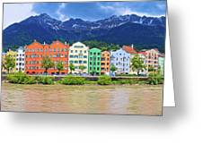 City Of Innsbruck Colorful Inn River Waterfront Panorama Greeting Card