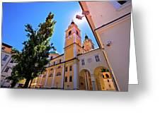 City Of Ljubljana Church And Square View Greeting Card