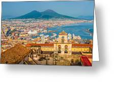 City Of Naples With Mt. Vesuvius Greeting Card